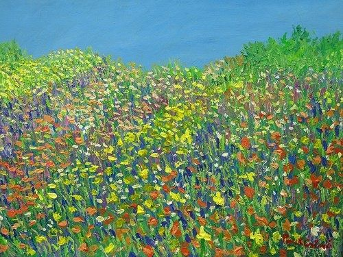 Custom Made Summer Flowers On Canvas 20 -40 Acrylic Con Temporary Impressionist