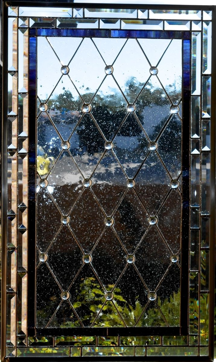 Hand Made Diamond Grid Stained Glass Window By Glassmagic