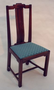 Custom Made Asian Styling Side Chair In Mahogany , Leather & Brass Inlay
