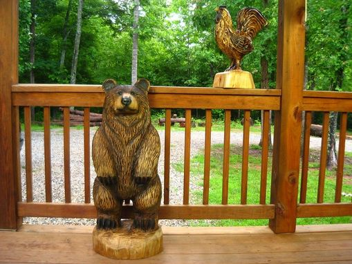 Custom Made Brown Bear Chainsaw Wood Sculpture