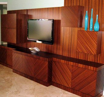 Custom Made Ribbon Striped Sapele Entertainment Center