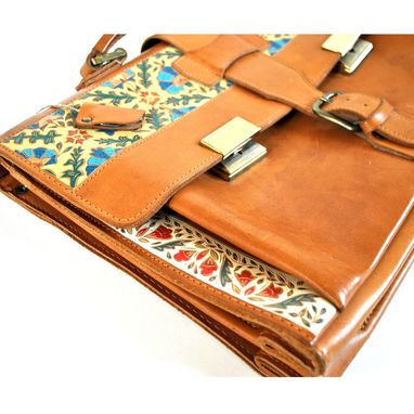 Custom Made Ornately Carved Leather Briefcase