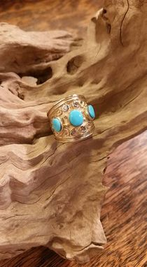 Custom Made Gold And Turquoise And Diamond
