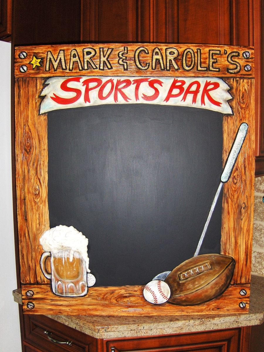 Hand Made Home Sports Bar Chalkboard With 3 D Elements By