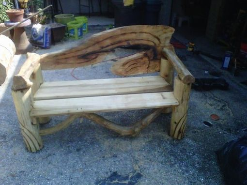 Custom Made Bench With Live Edge Back 1