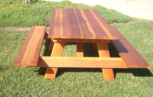 Custom Made 6ft Redwood Picnic Table With Attached Benches.