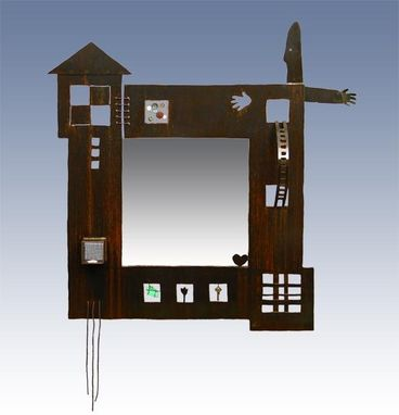 Custom Made Mirror With Metal Frame :: Contemporary Sculptural Furniture, Wall Decor, Accents