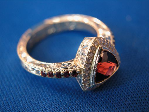 Custom Made Garnet 18k Yellow Gold Hand Engraved Ring