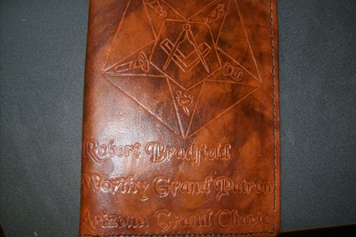 Custom Made Custom Leather Portfolio With Masonic Design And Personalization