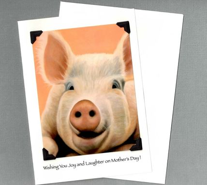 Custom Made Mother's Day Card - Pig Art Mother's Day Card - Big Pig Card - 10% Benefits Animal Charity