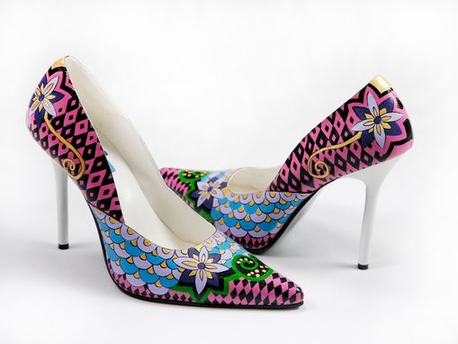 Custom Made Hand Painted Shoes- Multicolour Lady Painted Heels
