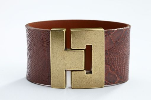 Custom Made Genuine Lizard Luxury Bracelet In Cognac (Brown) - Exotic Leather