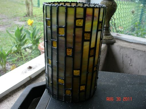 Custom Made Picture Window Vase Or Candle Holder In Stained Glass