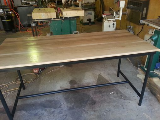 Custom Made Steel And Oak Dining Table