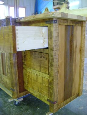 Custom Made Custom Reclaimed Barn Wood Bathroom Vanity With Aspen Natural Edge Counter
