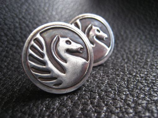 Custom Made Custom Sterling Silver Cufflinks With Business Logo, Wedding Logo, Or School Logo