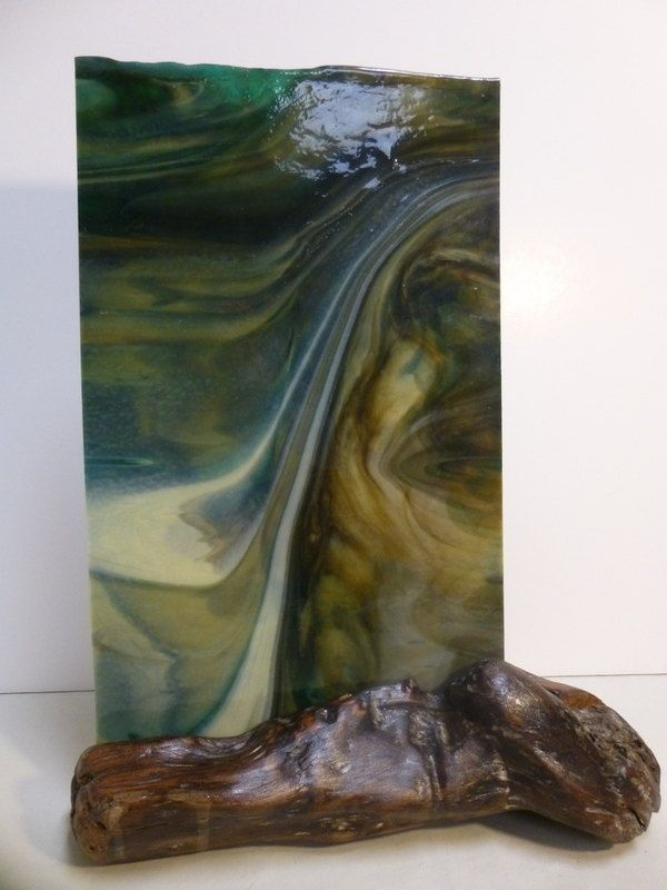 Custom driftwood art with stained glass the waterfall by for How to make stained glass in driftwood