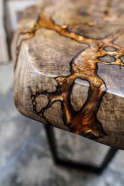 Custom Made Fractal River Console Table - Live Edge - Epoxy River - Fractal Burning - River Table