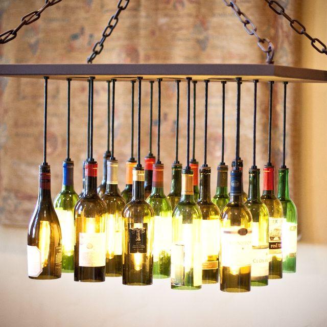 Custom wine bottle chandelier by by gordon living custommade mozeypictures Gallery