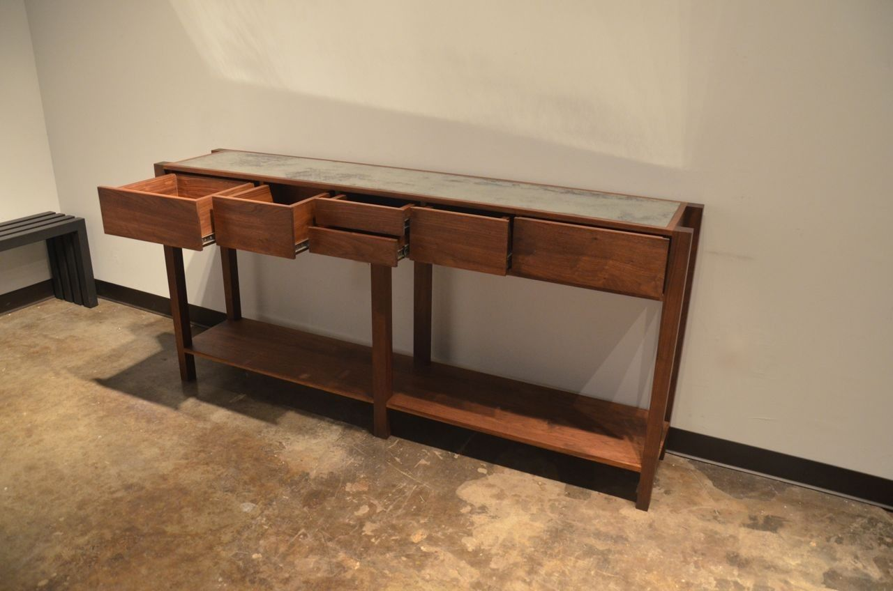 Hand crafted black walnut and antique mirror console table by custom made black walnut and antique mirror console table geotapseo Choice Image