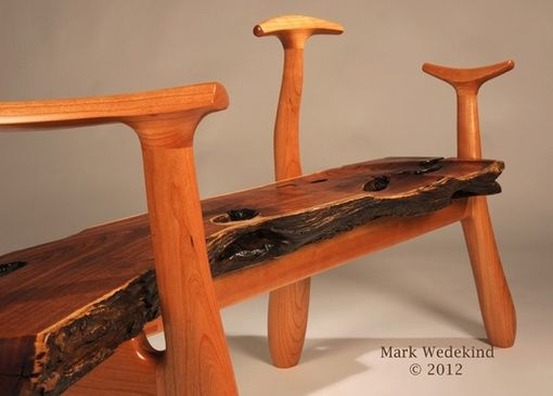 Custom Made Sculpted Cherry And Mesquite Bench