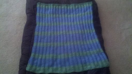 Custom Made Blue And Green Striped Knitted Baby Blanet