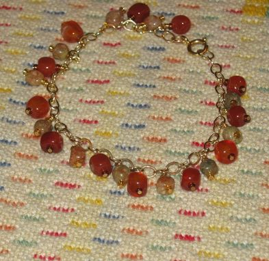 Custom Made Autumn Jasper And Carnelian Gold Dangle Bracelet - Free Shipping