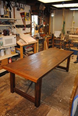 Custom Made Reclaimed Lumber Turnbuckle Table