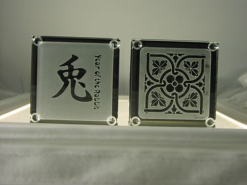 Custom Made Glass Designer Coasters Etched And Carved