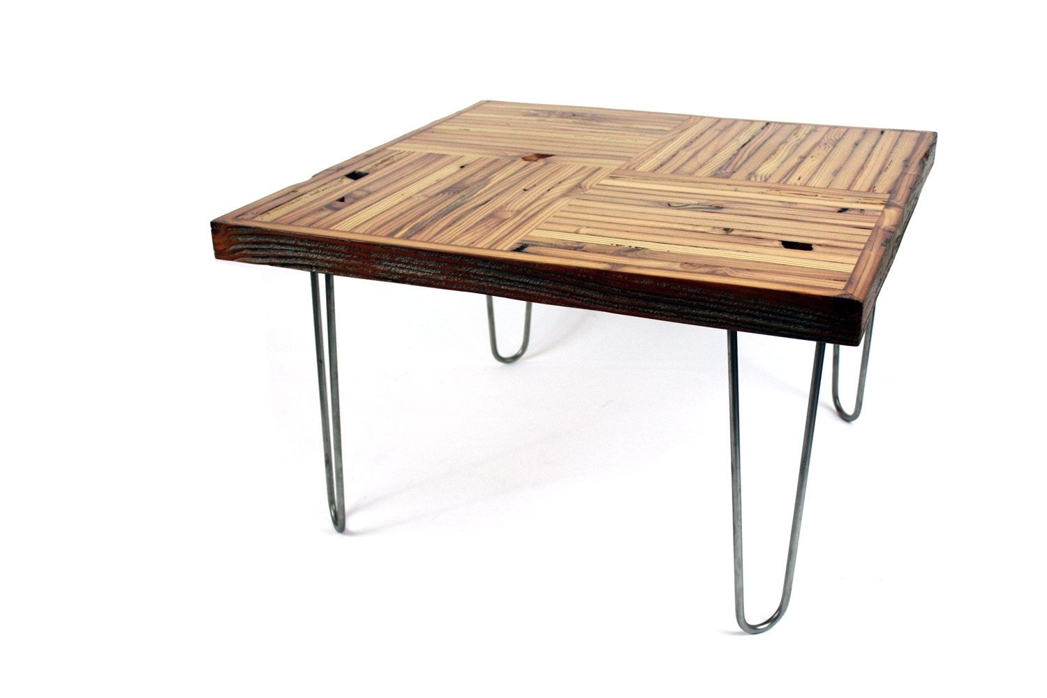 Hand Crafted 39 Block Parquet 39 Coffee Table Reclaimed Wood Table Mid Century Influenced By