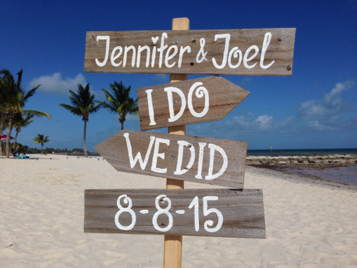 Custom Made I Do We Did Beach Sign, Rustic Wedding Decor, Gift For Couple.