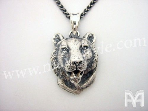 Custom Made Sterling Silver Animal Tiger Pendant