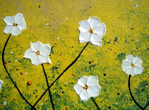 Custom Made Original Abstract White Daisies Flowers Blossom Impasto Landscape Textured Palette Knife Painting