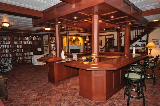 Custom Made Custom Mahogany Bar And Banquette