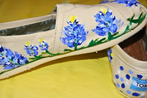 Custom Made Custom Painted Toms Shoes With Bluebonnets