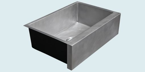 Custom Made Zinc Sink With Square-Ended Apron