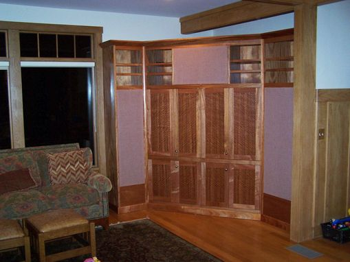 Custom Made Corner Entertainment Center With Figured Door Panels