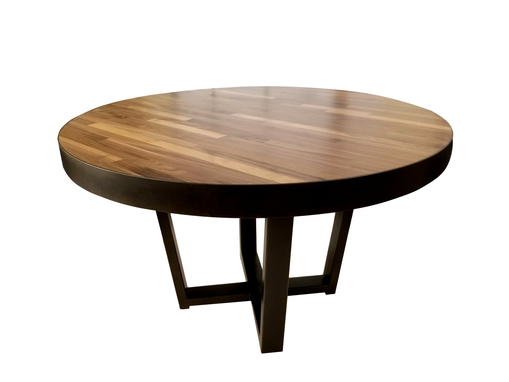 "Custom Made 48"" Round Dining Table With Oil Rubbed Bronze Metal"