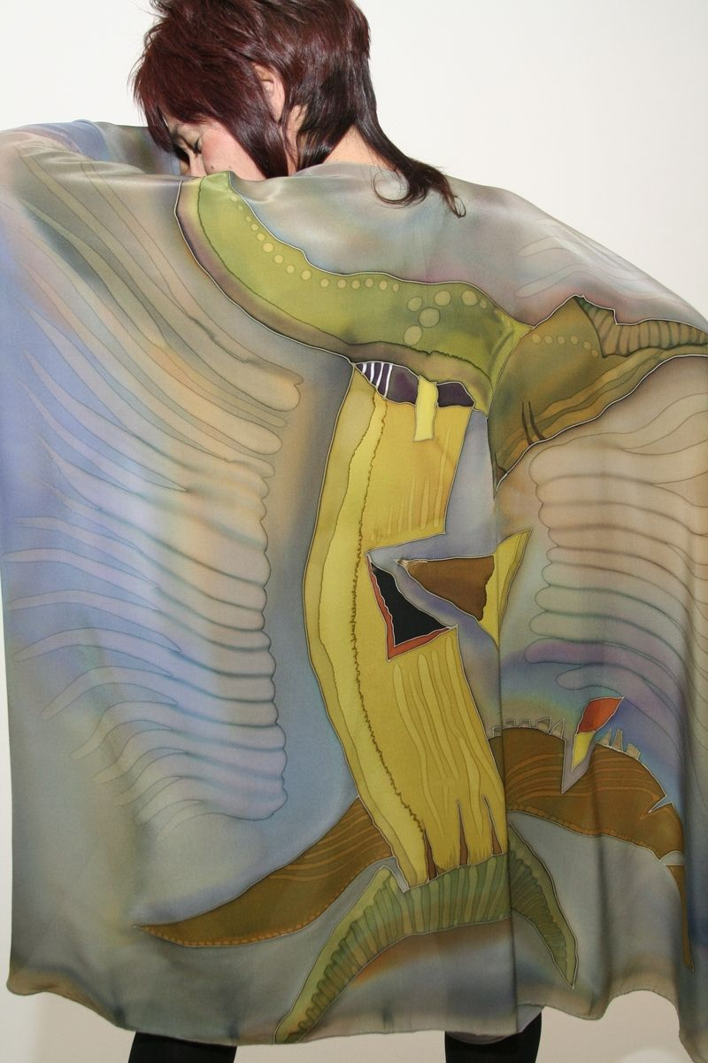Custom Hand Painted Silk Cape By Natasha S Silks