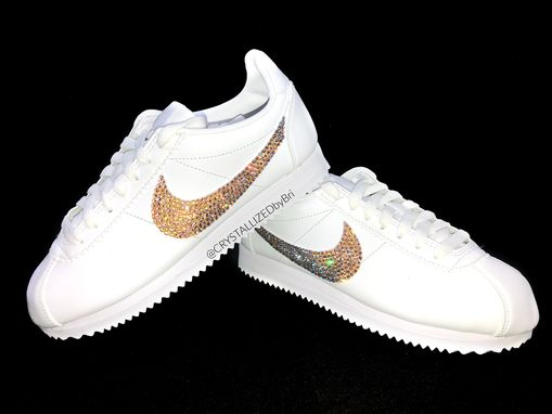 Custom Made Nike Crystallized Classic Cortez Women's Sneakers Bling W/ Swarovski Crystals Bedazzled White