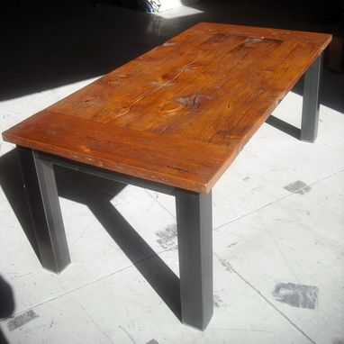 Custom Made Salvaged Fir Farm Table With Metal Legs
