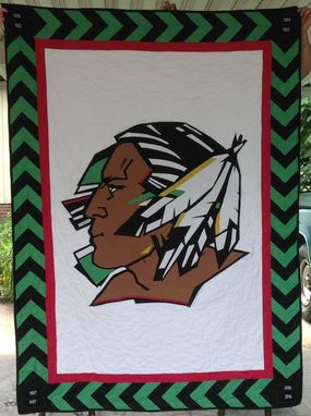 "Custom Made Custom Appliqued ""Fighting Sioux"" Team Logo Indian Brave Quilt With Arrow Border"