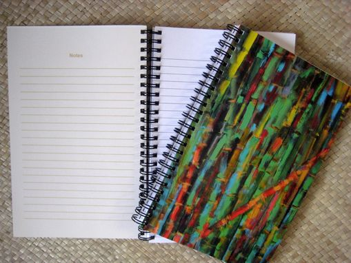 Custom Made Journal Spiral Notebook Diary With Original Bamboo Artwork- Green Yellow Blue Ochre