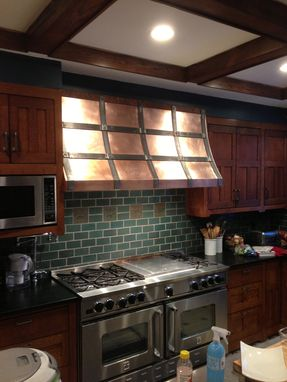 Custom Made Craftsman Style Copper Hood With Forged Steel Strapping