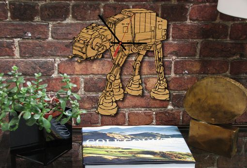 Custom Made At-At Laser-Cut Wooden Clock