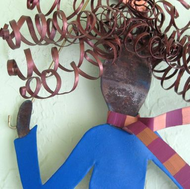 Custom Made Handmade Upcycled Metal Umbrella Lady Wall Art Sculpture