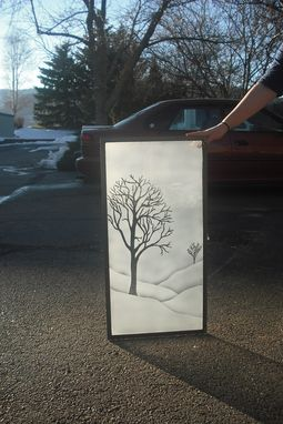 "Custom Made Etched Glass Window "" Winter Trees """