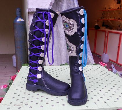 Custom Made Black Bull Hide Leather Boots With Beaded Peacock Feathers