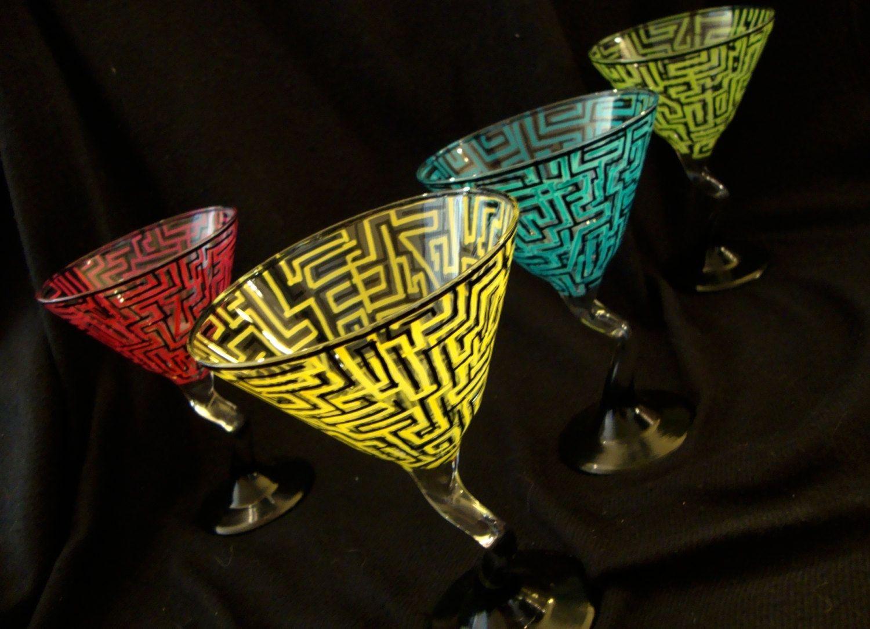 Custom Hand Painted Martini Glasses by Ashley Spitsnogle\'s Art ...