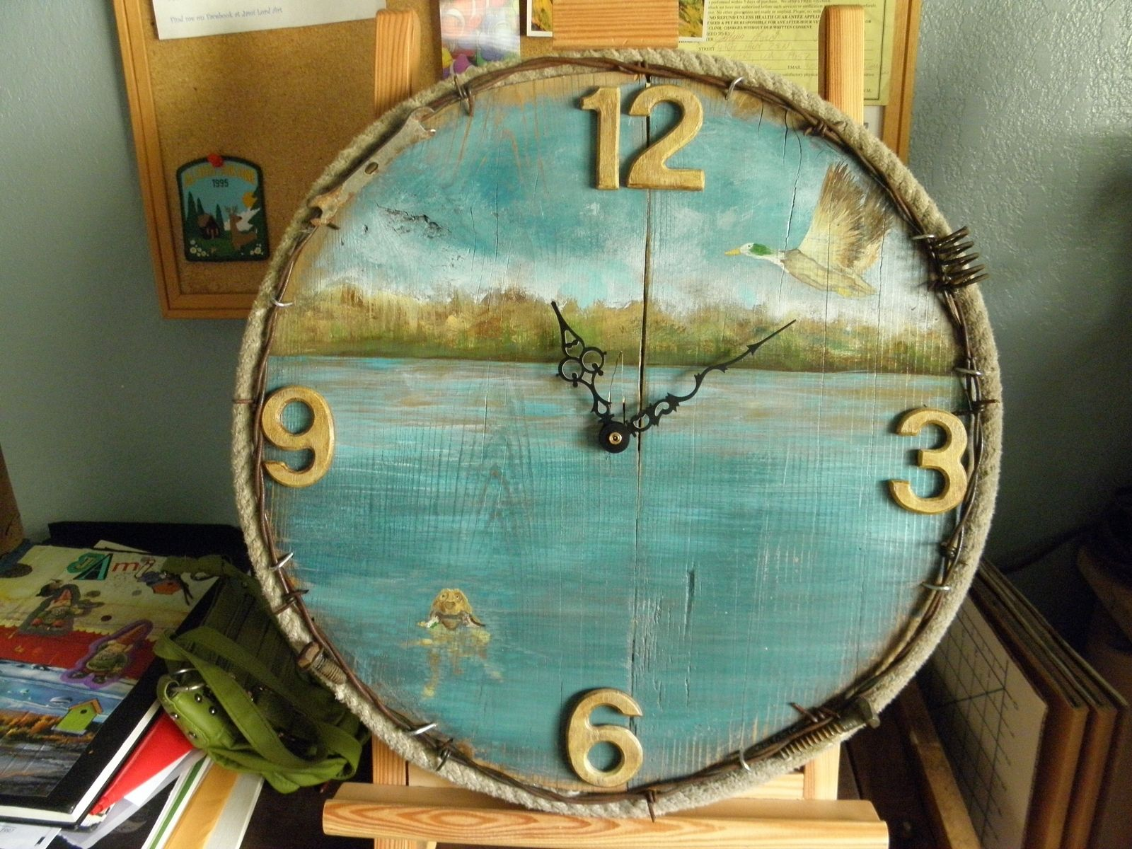 hand made rustic wall clock by jami rose lord art custommade